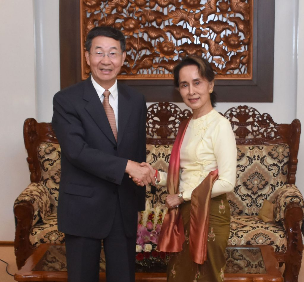 State Counsellor Daw Aung San Suu Kyi shakes hands with Chinese Special Envoy for Asian Affairs Mr. Sun Guoxiang at the Ministry of Foreign Affairs in Nay Pyi Taw on 24 June 2019.Photo: MNA