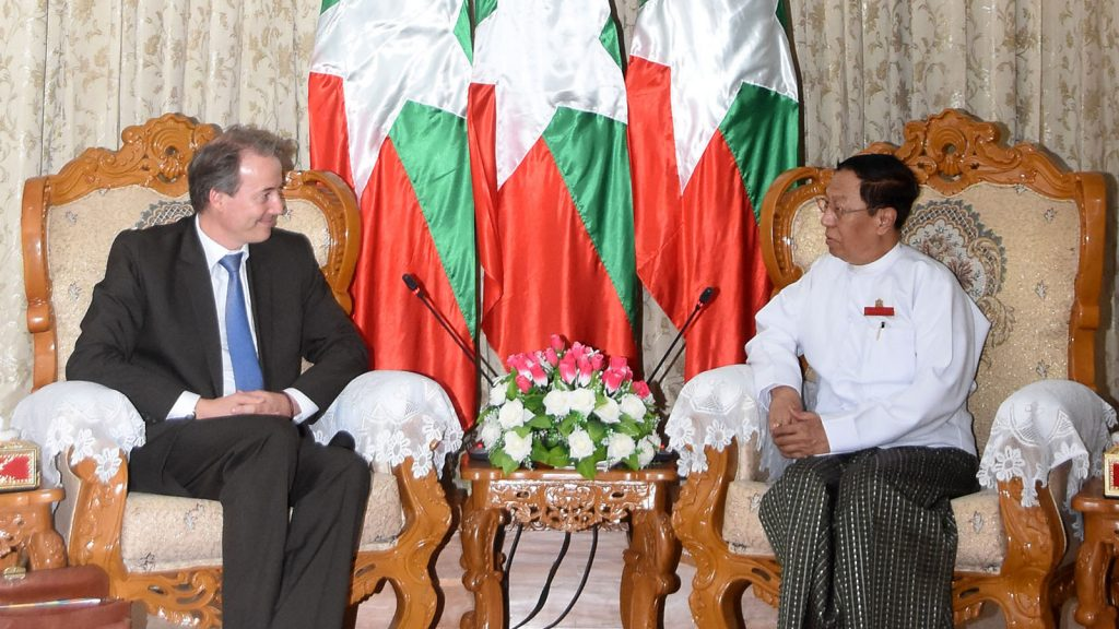 Union Election Commission Chairman U Hla Thein meets with EU Ambassador Mr. Kristian Schmidt yesterday. Photo: MNA