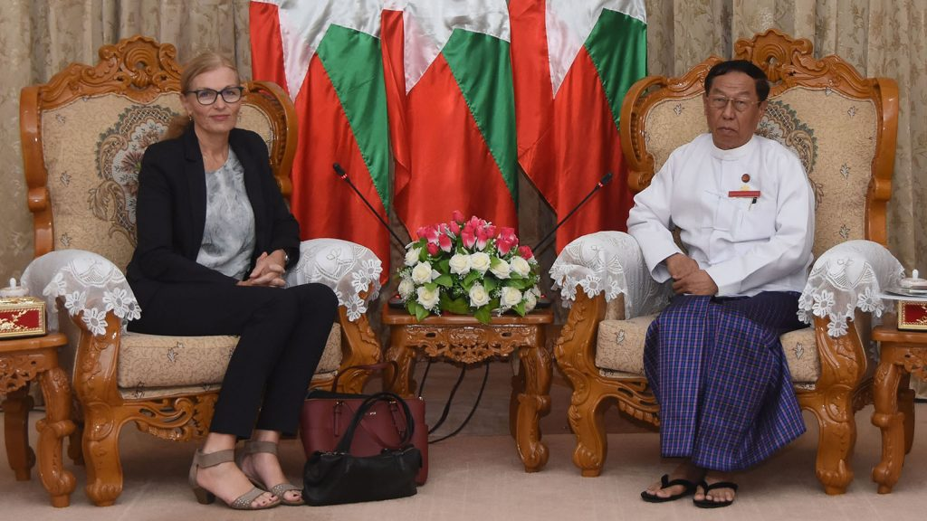 UEC Chairman U Hla Thein meets with Norwegian Ambassador  Ms Tone Tinnes at the UEC Office.Photo: MNA