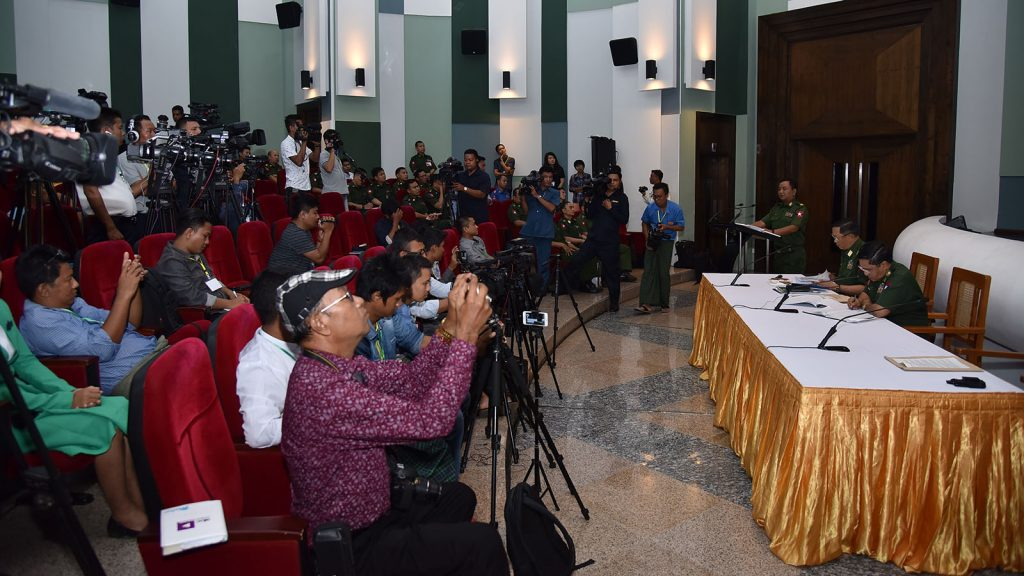 Tatmadaw True News Team replies to queries raised by media persons.   Photo: Office of the Commander-in-Chief of Defence Services