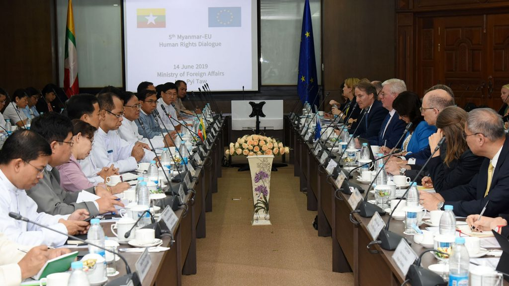 Union Minister U Kyaw Tin holds talks with a delegation led by European Union's Special Representative for Human Rights Mr. Eamon Gilmore at the Fifth Myanmar-EU Human Rights Dialogue at the Ministry of Foreign Affairs, Nay Pyi Taw, on 14 June 2019.Photo: MNA