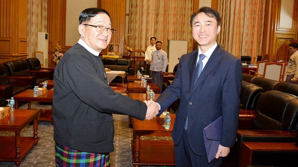 Pyithu Hluttaw Speaker U T Khun Myat shakes hands with Korean Ambassador Mr. Lee Sang-hwa in Nay Pyi Taw.Photo: MNA
