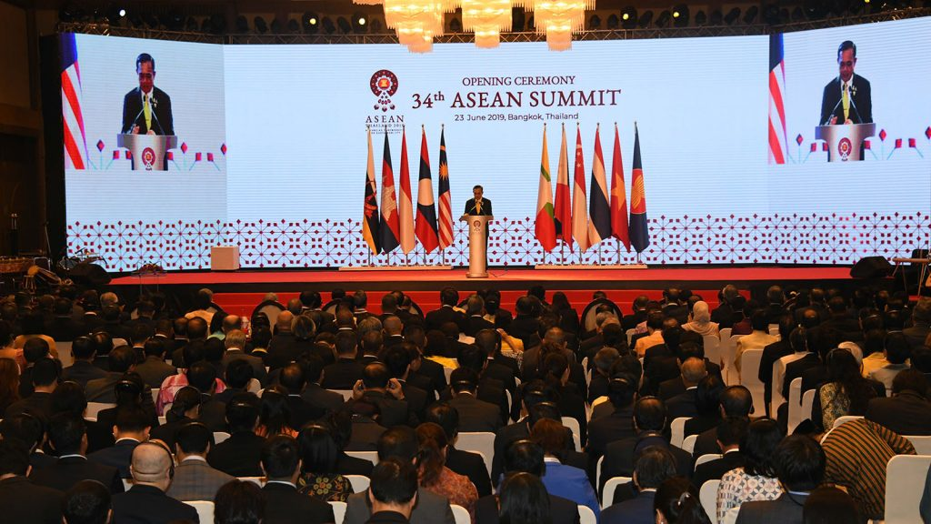 Thailand Prime Minister Prayut Chan-o-cha delivers the speech at the opening ceremony of the 34th ASEAN summit in Bangkok Thailand, yesterday.  Photo: MNA