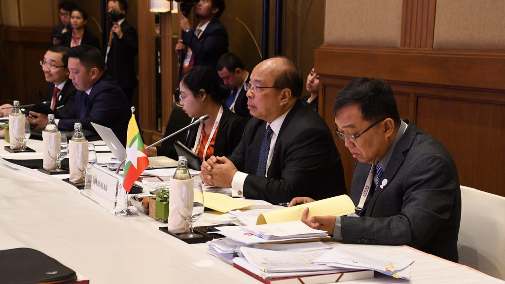 Union Minister U Thaung Tun attends the Special ASEAN Economic Ministers' Meeting on RECP in Bangkok yesterday. Photo: MNA