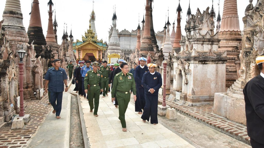 Senior General Min Aung Hlaing visits the historic Kakku Pagoda in Taunggyi, Shan State yesterday. Photo: Office of the C-IN-C of Defence Services