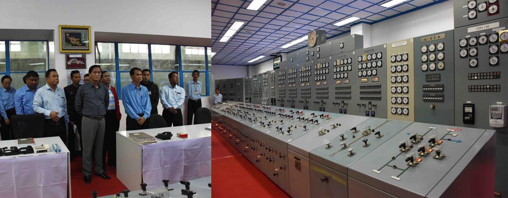 Vice President U Henry Van Thio inspects the control room at Biluchaung Hydropower Plant 2 in Kayah State yesterday.Photo:MNA
