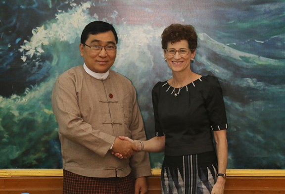 Union Minister Dr Win Myat Aye receives Country Director of WB Ms Ellen Goldstein