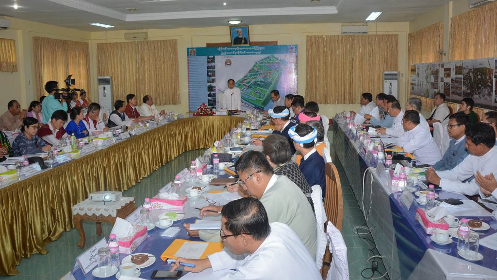 Union Minister Nai Thet Lwin addresses the coordination meeting of the setting up ongoing process of National Races Village in Yangon yesterday. Photo: MNA