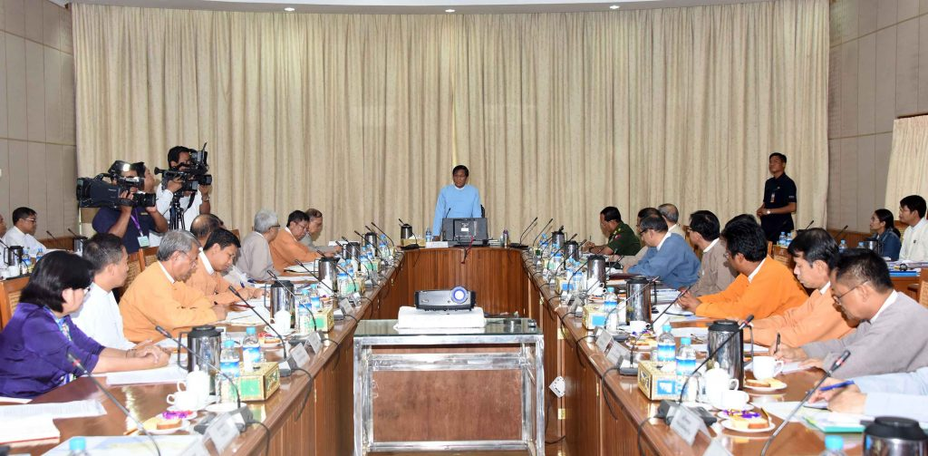 Vice President U Henry Van Thio delivers the speech at the National Water Resources Committee coordination meeting 2/2019 at the Presidential Palace in Nay Pyi Taw yesterday. Photo: MNA