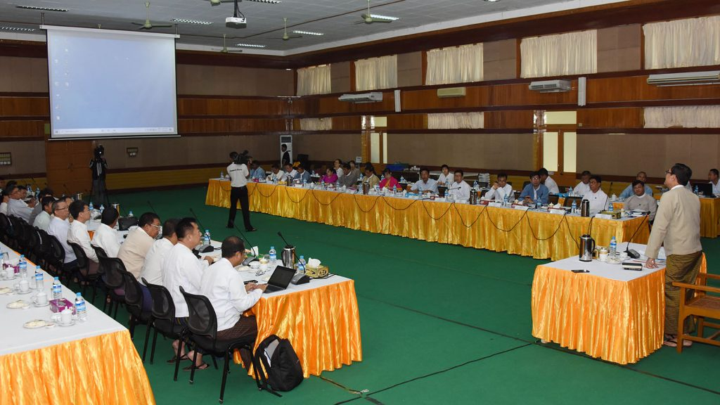 Deputy Minister U Aung Hla Tun delivers the speech at the meeting on Rules of text book printing for 2020-2021.Photo: MNA
