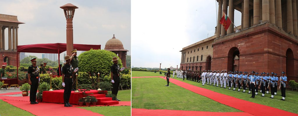 Senior General Min Aung Hlaing takes the salute as he is welcomed by Honour Guard in New Delhi, India.Photo: Office of the Commander-in-Chief of Defence Services
