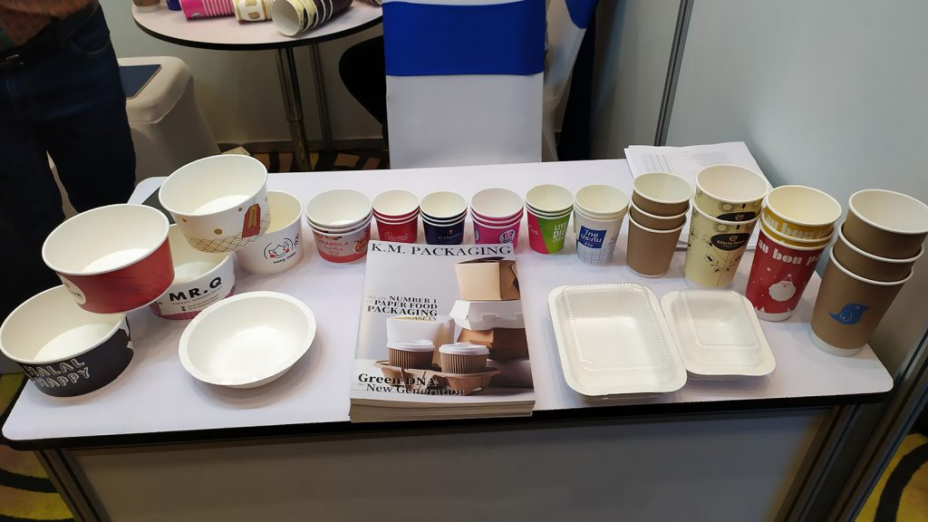 Tasty samples of food packaging design displayed at Thai-Myanmar Business Matching on Printing and Packaging Innovation 2019 in Yangon.Photo: Myint Maung
