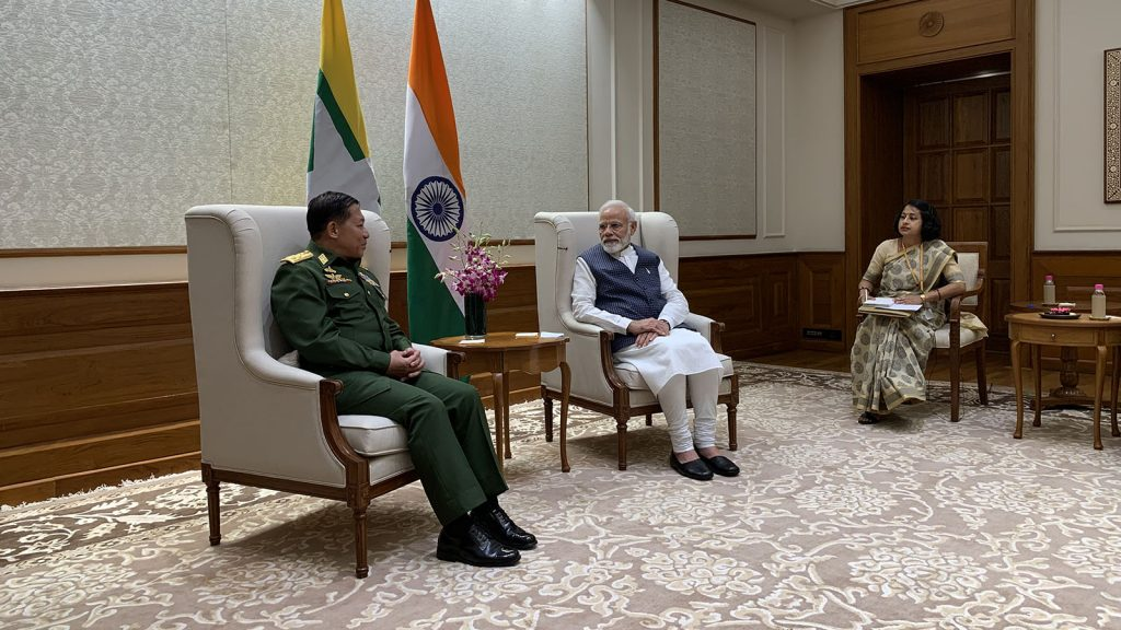 Senior General Min Aung Hlaing meets with Indian Prime Minister Mr Narendra Damodardas Modi in New Delhi, India on 29 July.Photo: Office of the Commander-in-Chief