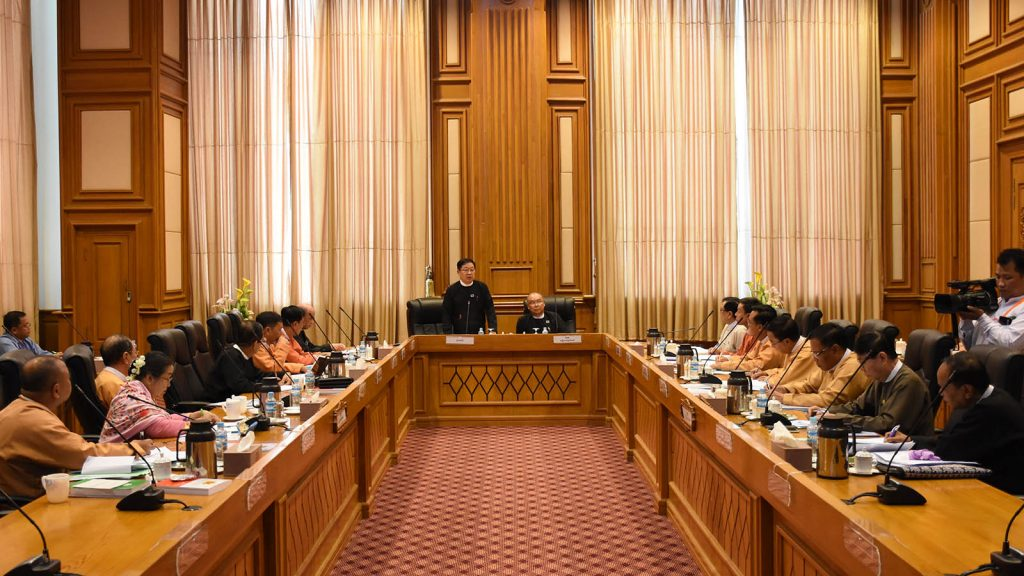Pyithu Hluttaw Speaker U T Khun Myat delivers the speech at the Myanmar Parliamentary Union (MPU) meeting (1/2019) at the Hluttaw Building, Nay Pyi Taw, yesterday.Photo: MNA