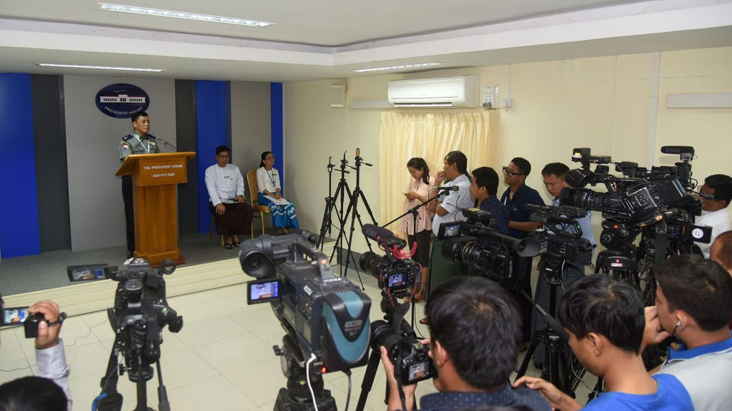 Deputy Police Chief Police Maj-Gen Aung Naing Thu answers to journalists during a press conference at the Presidential Palace.photo: MNA