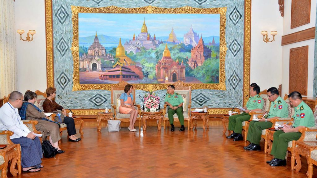 Vice Senior General Soe Win meets with United Nations Secretary-General's Special Envoy on Myanmar Mrs Christine Schraner Burgener in Nay Pyi Taw yesterday. Photo: Office of the Commander-in-Chief