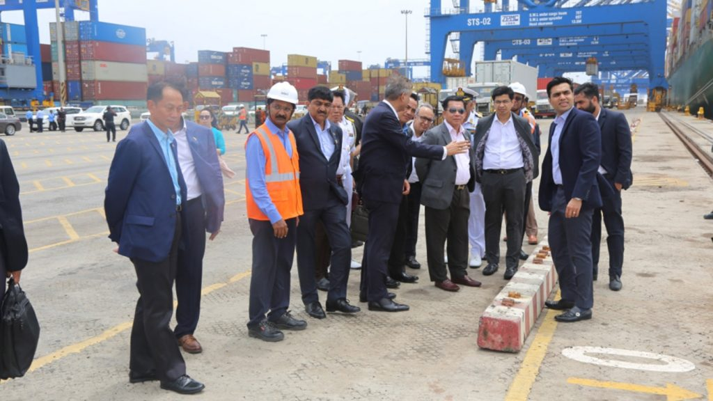 Senior General Min Aung Hlaing visits the Adani Ports and Logistics in Mundra, India.  Photo: Office of the Commander-in-Chief of Defence Services