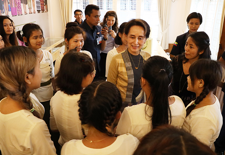 State Counsellor Daw Aung San Suu Kyi visits the Eden Myanmar Philanthropic Group in Kamayut. Photo: MNA