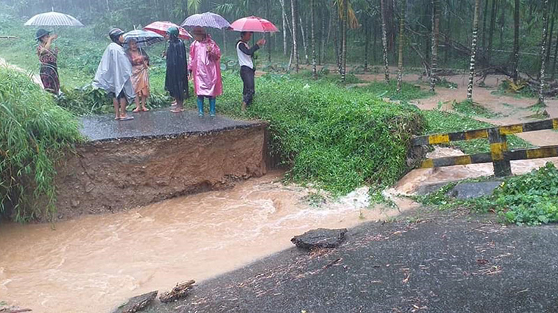 A bridge is destroyed by the flood in Kyunsu Township. Photo: Si Thura Aung (Kyunsu)