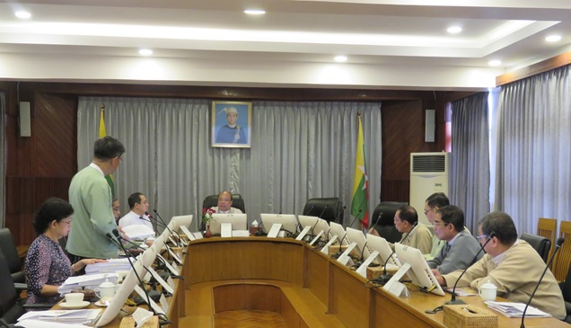 Chairman of the MIC Union Minister U Thaung Tun attends the Myanmar Investment Commission (MIC) meeting (14 / 2019) in Yangon on 30 August, 2019.Photo: MNA