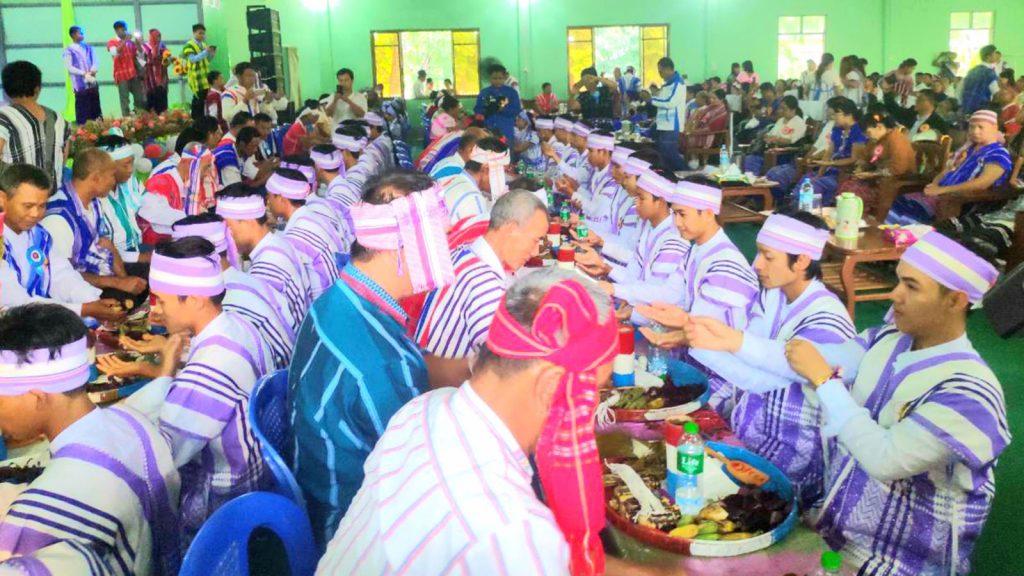 Kayin people celebrating their traditional white thread tying festival in Nyaungdon.Photo: Htet Wai Phyo