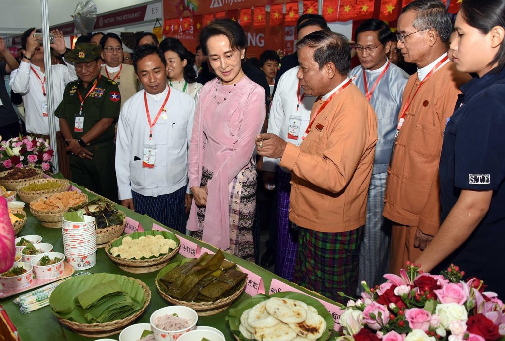 State Counsellor Daw Aung San Suu Kyi attends the opening ceremony of ASEAN Food Festival 2019 at Mandalay Convention Centre in Mandalay yesterday.Photo: MNA