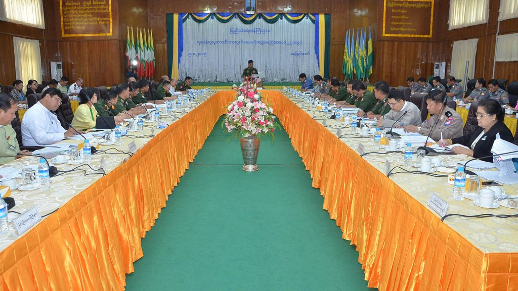 Union Minister for Home Affairs Lt-Gen Kyaw Swe delivers the speech at the meeting of Central Body for the Suppression of Trafficking in Persons at the ministry in Nay Pyi Taw yesterday.Photo: MNA