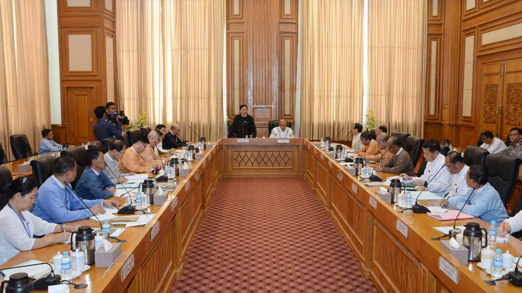 Pyithu Hluttaw Speaker U T Khun Myat addresses at the meeting for holding the International Democracy Day for 2019 in Nay Pyi Taw yesterday.Photo: MNA