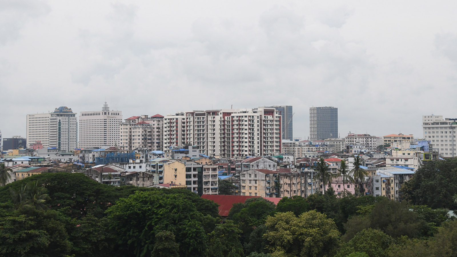 File photo shows an aerial view of Yangon City with high-rise buildings.Photo: MNA