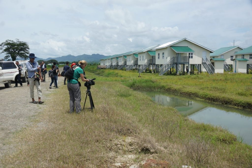 Journalists visit houses for returnees in Kyeinchaungtaung Village.Photo: MNA