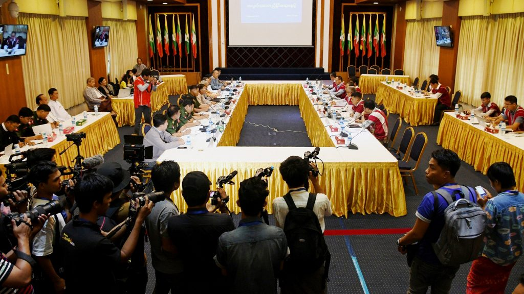 Representatives of National Reconciliation and Peace Centre (NRPC) and Karen National Union (KNU) hold the informal meeting on peace process in Yangon.Photo: Phoe Htaung