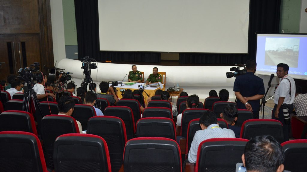The Tatmadaw True News Team holds the press conference  in Nay Pyi Taw yesterday.   Photo: MNA