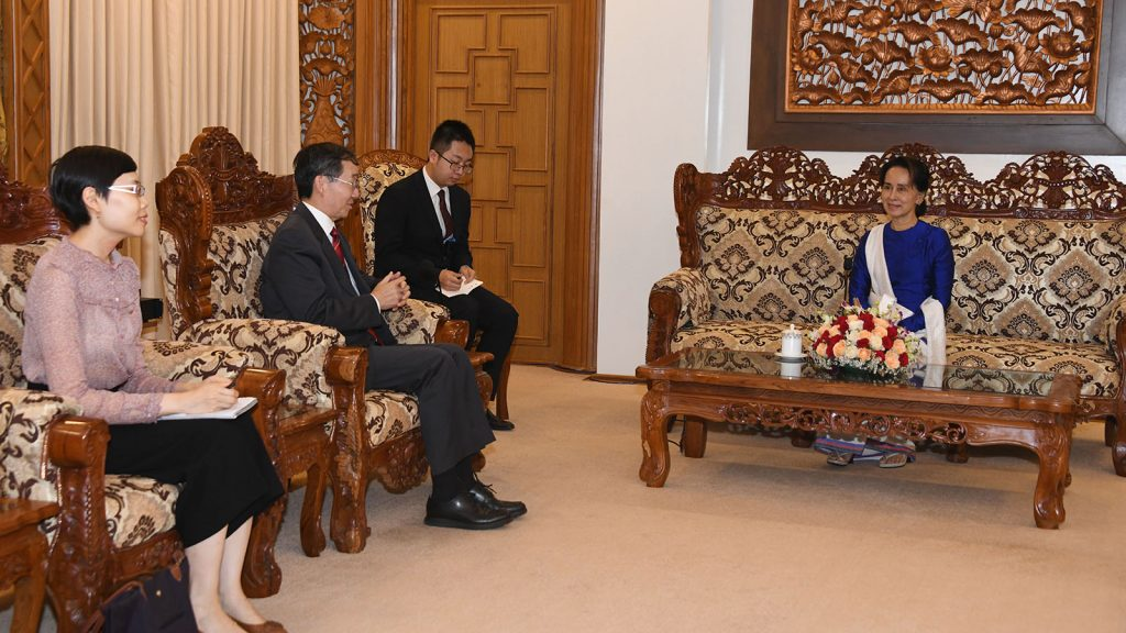 State Counsellor Daw Aung San Suu Kyi meets with Mr Sun Guoxiang, Special Envoy for Asian Affairs of the Ministry of Foreign Affairs of the People's Republic of China, in Nay Pyi Taw on 13 September 2019.Photo: MNA