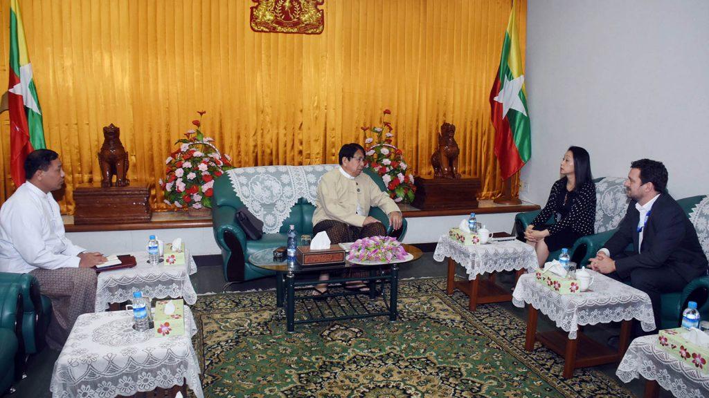 Union Minister Dr. Pe Myint meets with UNESCO Resident Representative Ms. Min Jeong Kim and UN Women Resident Representative Mr. Nicolas Burniat in Yangon yesterday.Photo: MNA