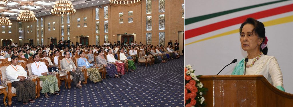 State Counsellor Daw Aung San Suu Kyi delivers the speech at the ceremony to honour most outstanding matriculation students in 2018-2019 Academic Year in Nay Pyi Taw yesterday. Photo: MNA