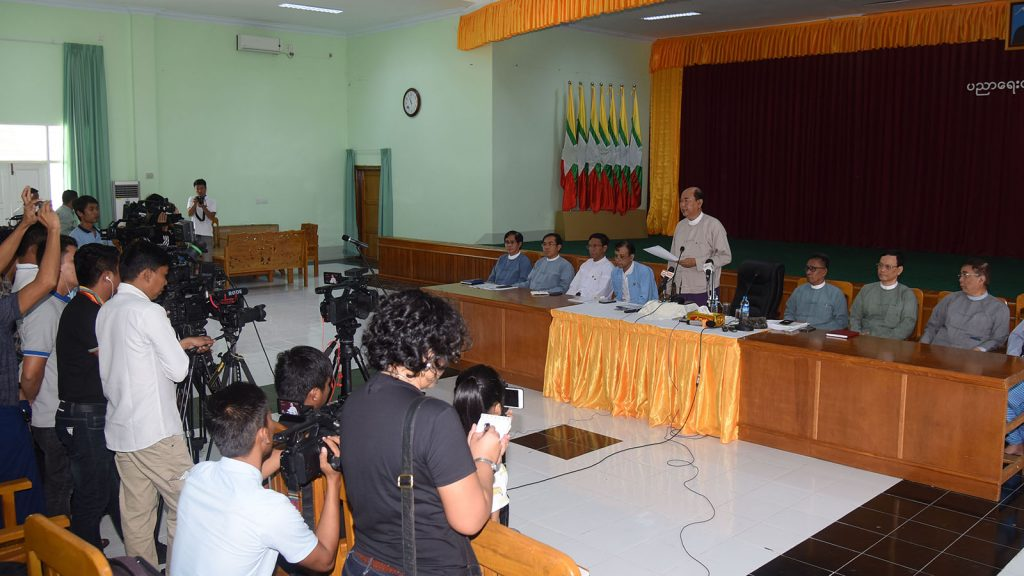 Ministry of Education holds press conference in Nay Pyi Taw yesterday.Photo: MNA