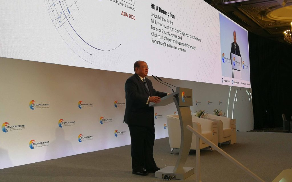 Union Minister U Thaung Tun addresses the Singapore Summit 2019 which was held from 20-21 September. Photo: MNA