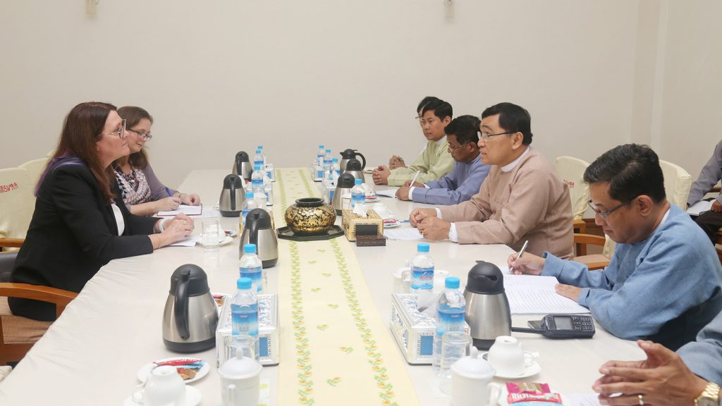 Union Minister for Social Welfare, Relief and Resettlement Dr Win Myat Aye holds talks with Ambassador of Canada to Myanmar Ms Karen Mac Arthur in Nay Pyi Taw yesterday.Photo: MNA