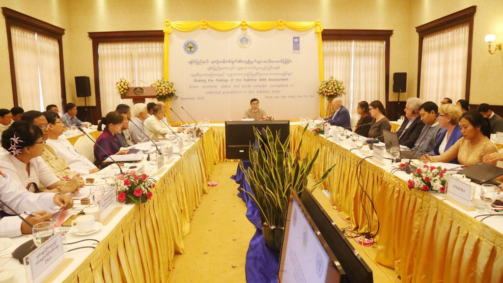 Union Minister Dr Win Myat Aye attends the ceremony of Sharing the findings of the Rakhine Joint Assessment held in Nay Pyi Taw yesterday.Photo: MNA