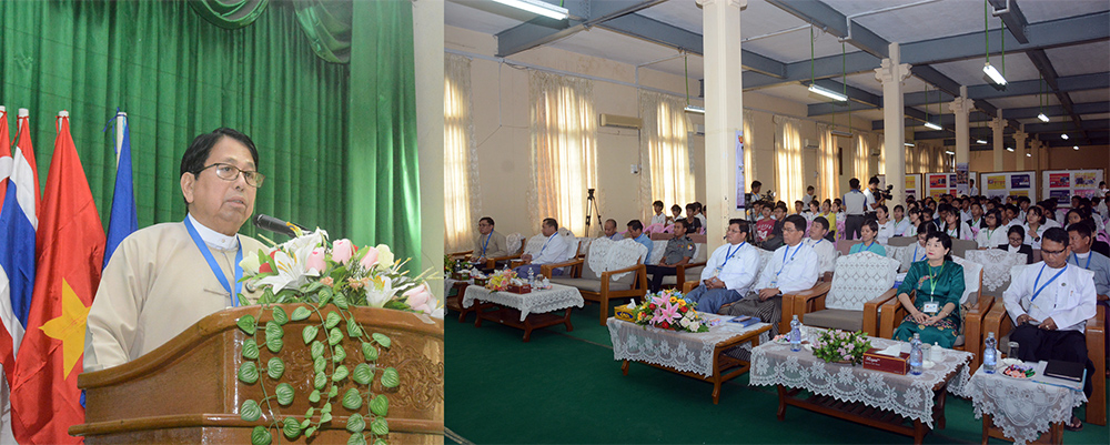 Union Minister Dr Pe Myint delivers the speech at the workshop on Cyber Wellness for the Youth in Yangon yesterday.Photo: MNA