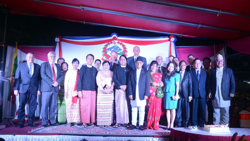 Union Minister Dr Pe Myint and wife, Yangon Region Chief Minister U Phyo Min Thein and wife, Nepalese Ambassador  Mr Bhim Krishna Udas, and wife,and diplomats pose for documentary photo at the reception to mark the National Day of Nepal in Yangon.Photo: MNA