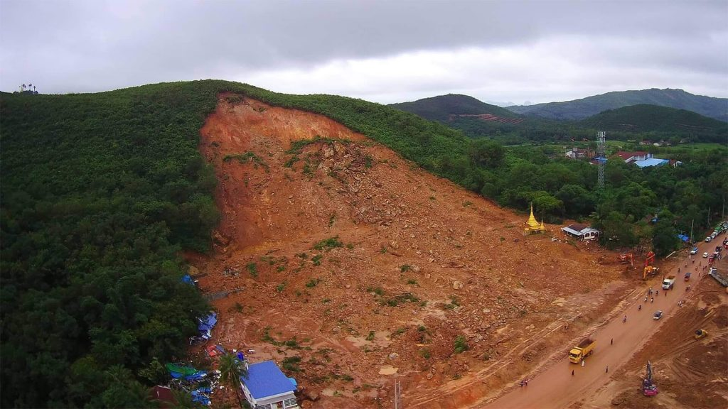 Photo shows an aerial view of the area of deadly landslide that struck a village in Paung Township in August, 2019. Photo: Ko Zaw Min