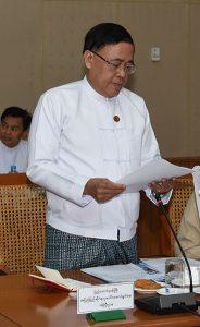 Union Minister for International Cooperation U Kyaw Tin. Photo: MNA