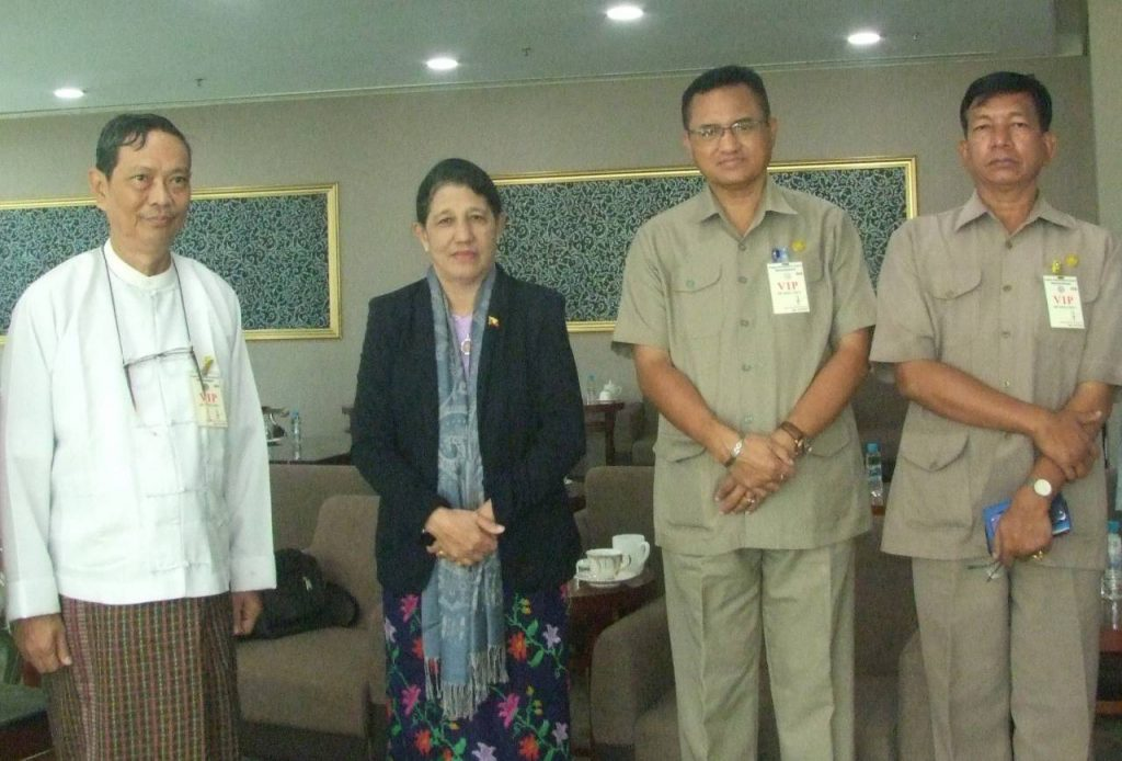 Deputy Minister Dr Mya Lay Sein seen off at the Yangon International Airport by officials from the Department of Sports and Physical Education yesterday.Photo: MNA
