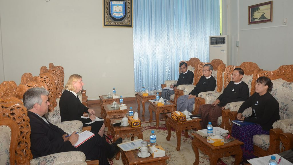 Union Attorney-General  U Tun Tun Oo meets with Ms Angela Marcarino Paris, Head of Asia and Pacific Public Sector Operations at European Investment Bank, in Nay Pyi Taw yesterday.Photo: MNA