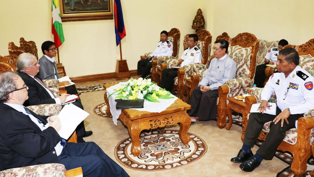 Union Minister for Labour, Immigration and Population U Thein Swe meets with Ambassador of France Mr. Christian Lechervy in Nay Pyi Taw yesterday. Photo: MNA