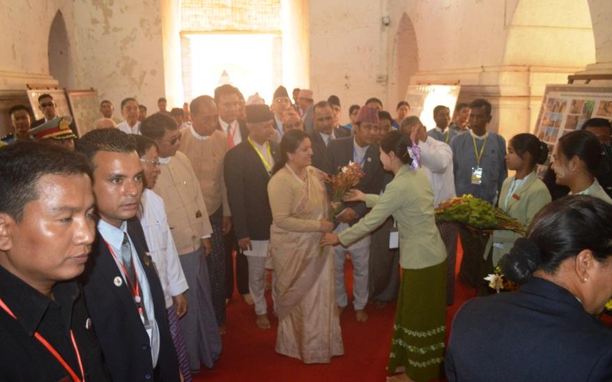 Nepali President Mrs Bidya Devi Bhandari visits the famous Ananda Temple at the UNESCO World Heritage Site in Bagan yesterday.Photo: MNA