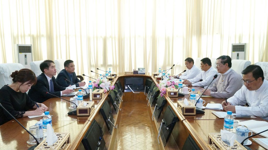Union Minister for Labour, Immigration and Population U Thein Swe holds talks with Ambassador of the Republic of Korea Mr Lee Sang-hwa at the ministry in Nay Pyi Taw yesterday.Photo: MNA