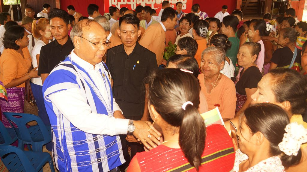 Amyotha Hluttaw Speaker presents greets villagers from Phalu Village Tract in Myawady District yesterday. Photo: MNA