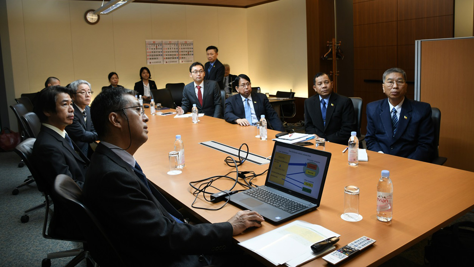 The Myanmar delegation led by Union Minister Dr Pe Myint visits the Kyodo News in Tokyo, Japan, yesterday. Photo: MNA
